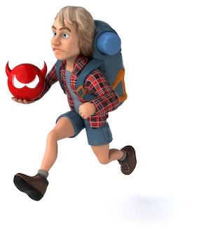 Fun backpacker cartoon-typ