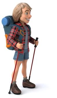 Fun backpacker mit spazierstöcken - 3d-illustration