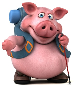 Fun backpacker schwein zeichentrickfigur