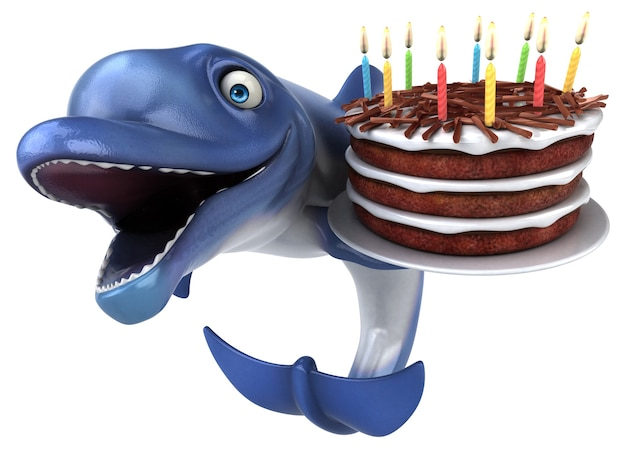 Fun dolphin - 3d-illustration