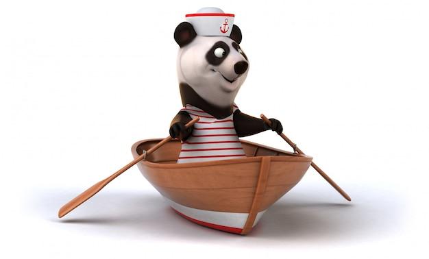 Fun panda auf einem boot