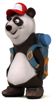 Fun panda backpacker zeichentrickfigur