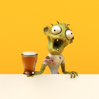 Fun zombie charakter isoliert - 3d-illustration