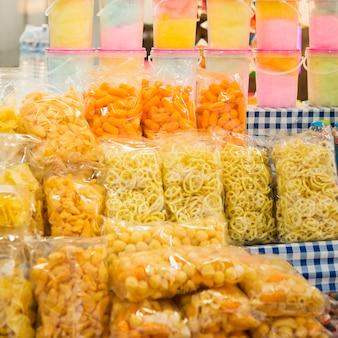 Funfair reihe von leckeren snacks