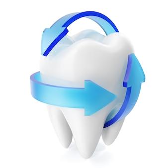 Funkelnde weiße zähne des 3d-renderings lokalisiert auf weißem hintergrund. zahnpflege zahnkonzept.