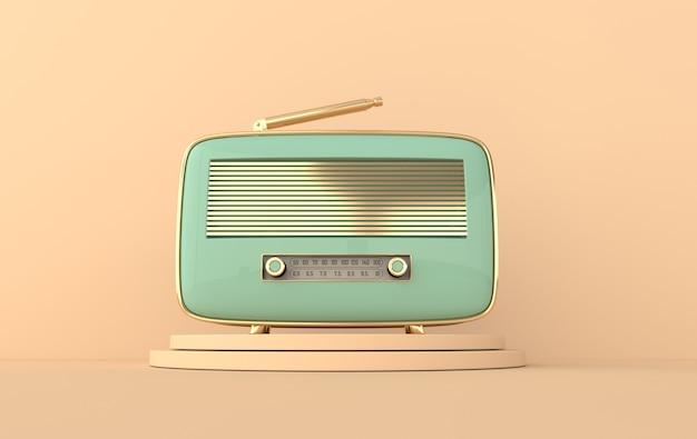 Funkempfänger im vintage-stil auf dem podium