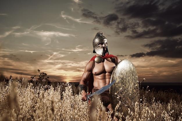 Furchtloser junger spartanischer krieger posiert auf dem feld