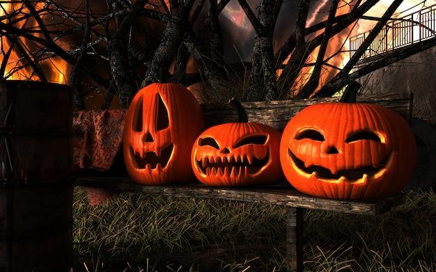 Furchtsame laternen-halloween-kürbise und schwarze katze jacks o.