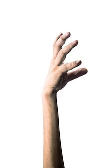 Furchtsame zombiehand lokalisiert auf weißem hintergrund