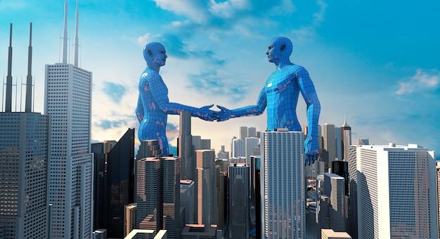 Fusions- und akquisitionsgeschäftskonzept, schließen sich wiedergabe der firma 3d an