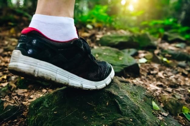 Fuß im trainer auf dem stein im wald. fernweh-konzept. reisen und wandern in der natur.