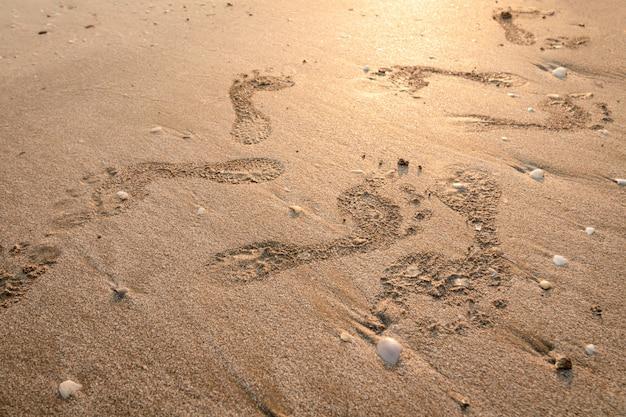 Fußabdrücke am strand. schritte bei sonnenuntergang mit goldenem sand. erinnerungen an die vergangenen tage.