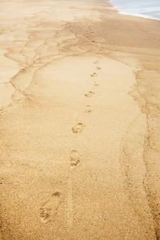 Fußabdrücke von nackten füßen auf nassem sand