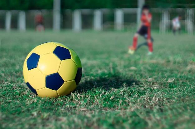 Fußball auf dem gras am stadion weltcup-konzept