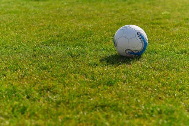 Fußball auf der grünen wiese