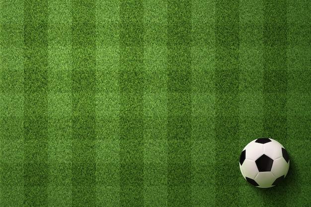 Fußball auf fußballplatzhintergrund