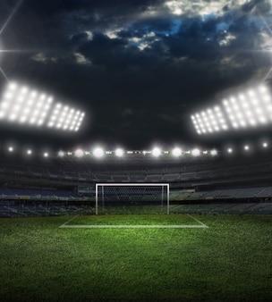 Fußball auf grüner stadionarena und nacht