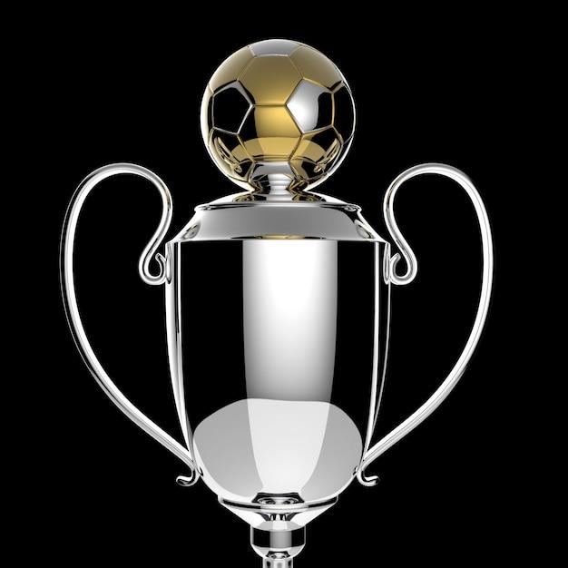 Fußball golden award trophy auf schwarz