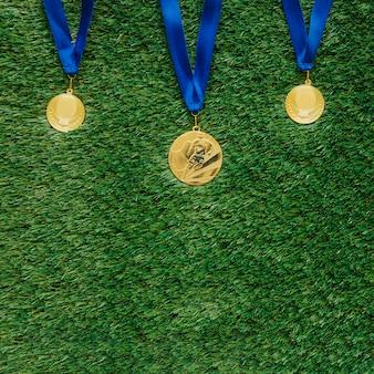 Fußball hintergrund mit medaillen
