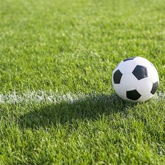 Fußball im gras auf linie