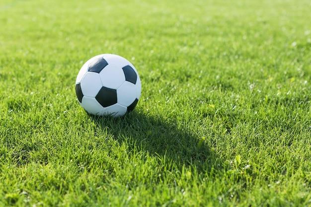 Fußball im gras mit schatten