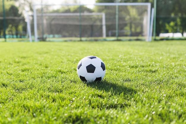 Fußball im gras vor ziel