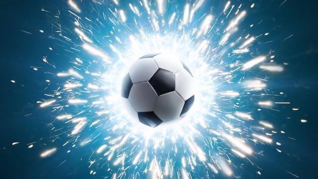 Fußball. kraftvolle fußball-energie