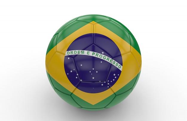 Fußball mit brasilianischer flagge