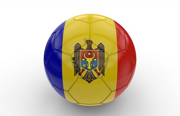 Fußball mit moldawien flagge