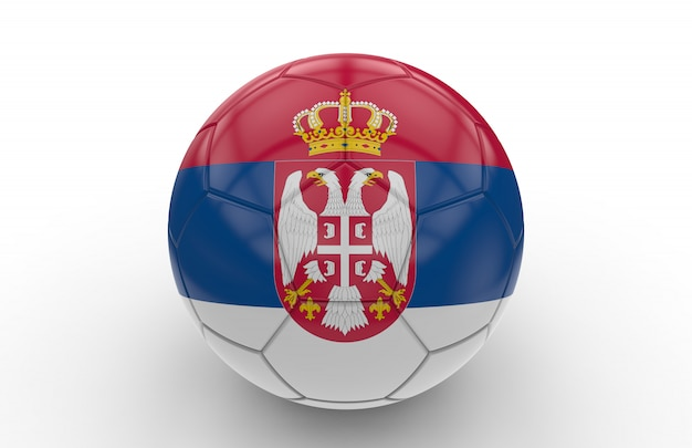 Fußball mit serbien flagge
