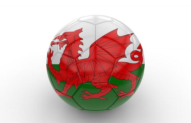 Fußball mit walisischer flagge