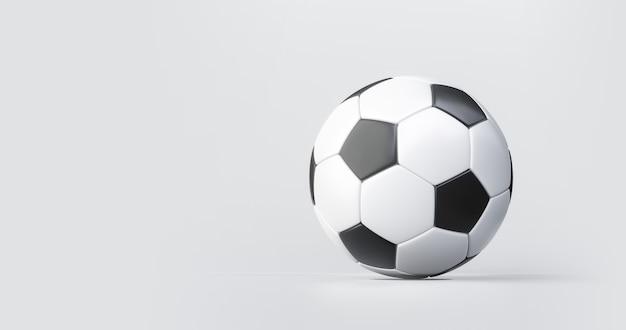 Fußball oder fußball- und sportgeräte auf weißem hintergrund mit klassischem wettbewerb. 3d-rendering.