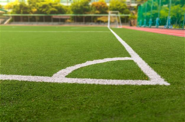 Fußball- oder fußballplatz mit weißer linie