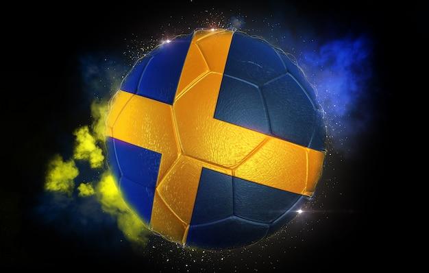 Fußball texturiert mit flagge von schweden