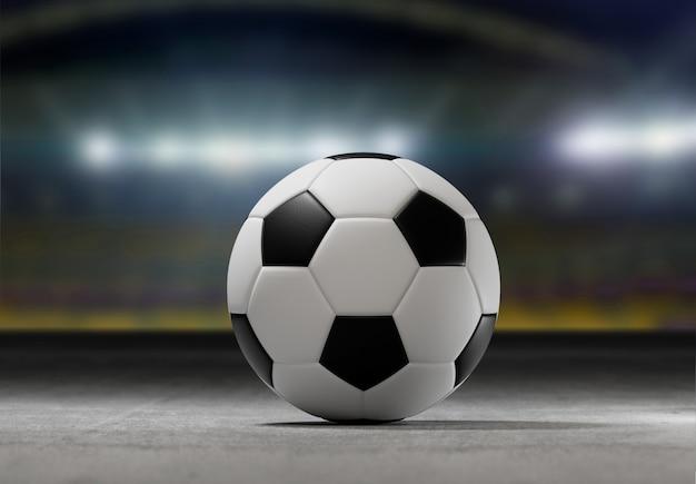 Fußballball auf dem feld eines stadtstadions - wiedergabe 3d