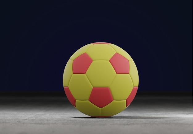 Fußballball auf dem feldstadtstadion - wiedergabe 3d