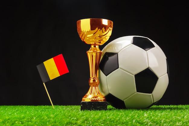 Fußballcup mit fußball auf gras