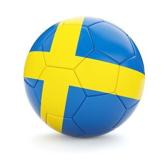 Fußballfußball mit schwedenflagge