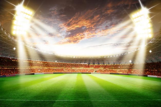 Fußballfußballstadionsarena der wiedergabe 3d mit lichtern