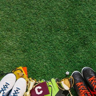Fußballhintergrund mit copyspace auf die oberseite