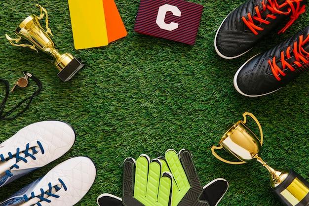 Fußballhintergrund mit copyspace in der mitte