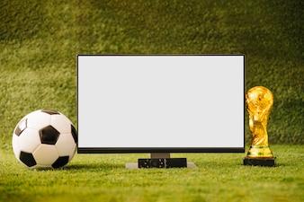 Fußballhintergrund mit Fernsehen