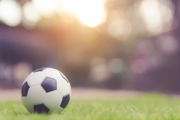 Fußballkugel auf grasgrünfeld mit copyspace