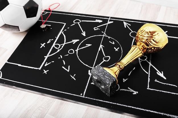 Fußballplankreidetafel mit bildungstaktik