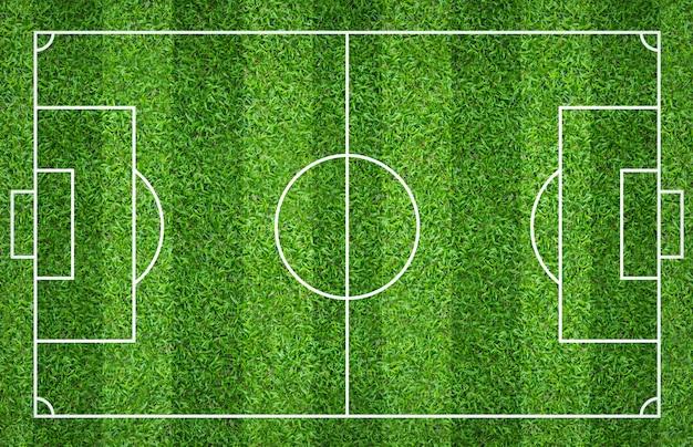 Fußballplatz oder fußballplatz für hintergrund. grüner rasenplatz für spiel erstellen.