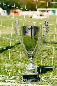 Fußballpokal, trophäe auf dem feld und gitter.