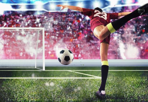 Fußballspieler mit dem ball auf das tor zu