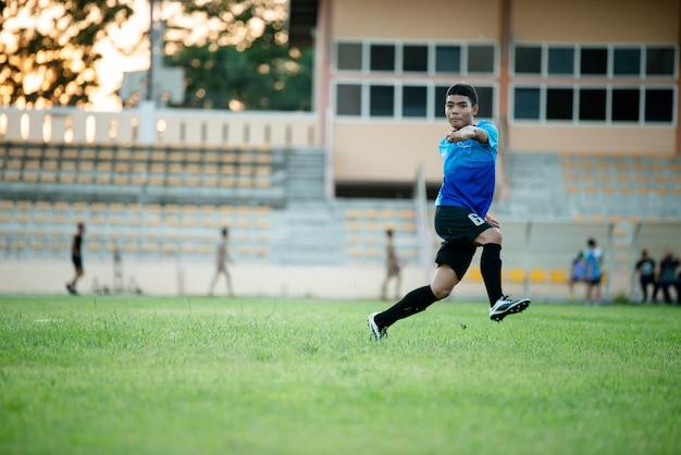 Fußballspieleraktion auf dem stadion