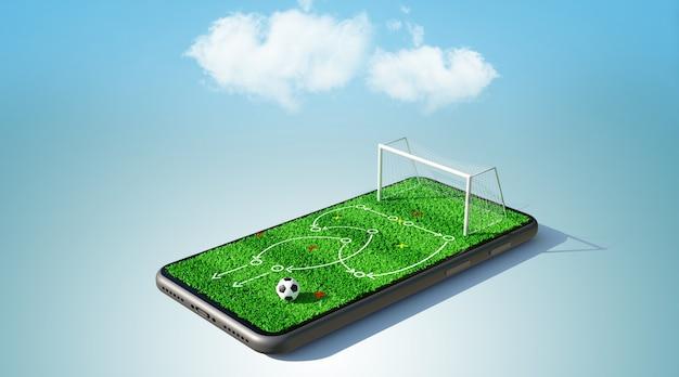 Fußballspielstrategie auf dem smartphone. 3d-rendering