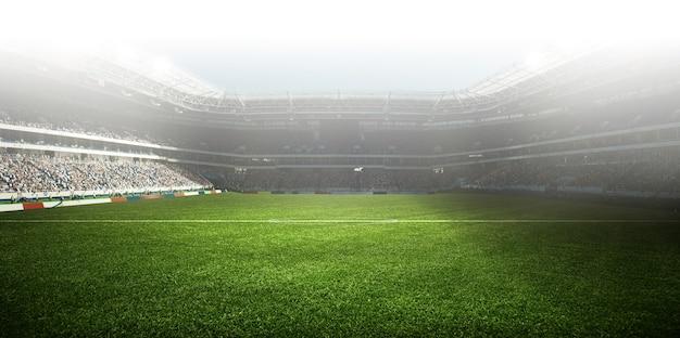 Fußballstadion, glänzende lichter, blick vom feld. fußballkonzept